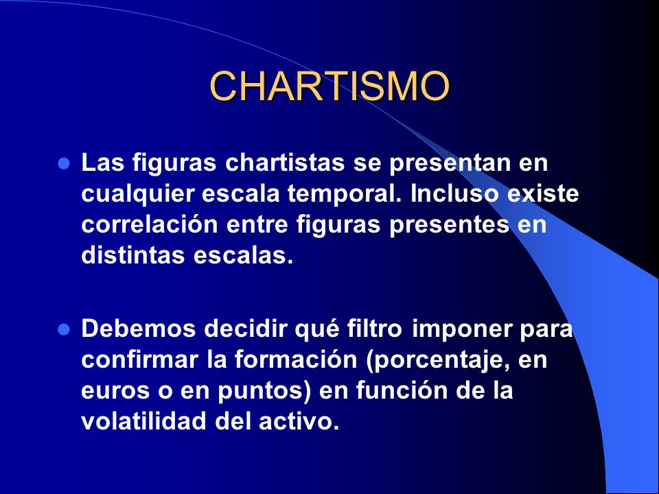 CHARTISMO Las figuras chartistas se presentan en cualquier escala temporal. Incluso existe correlación entre figuras presentes en distintas escalas.
