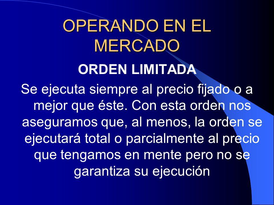 OPERANDO EN EL MERCADO ORDEN LIMITADA