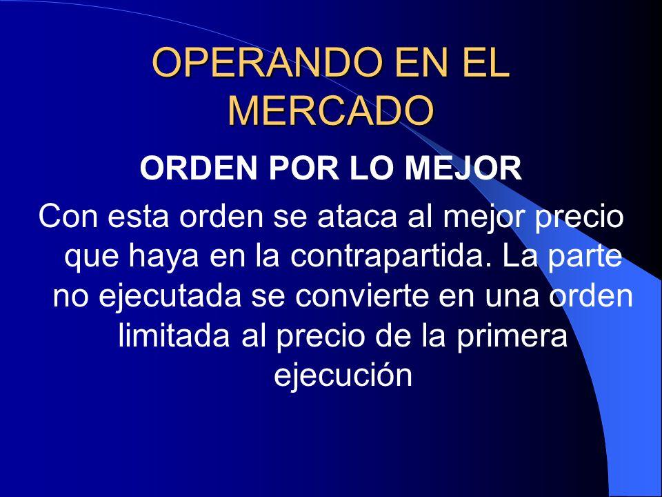 OPERANDO EN EL MERCADO ORDEN POR LO MEJOR