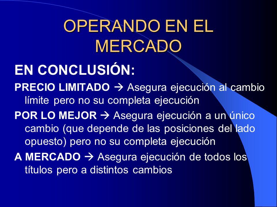 OPERANDO EN EL MERCADO EN CONCLUSIÓN: