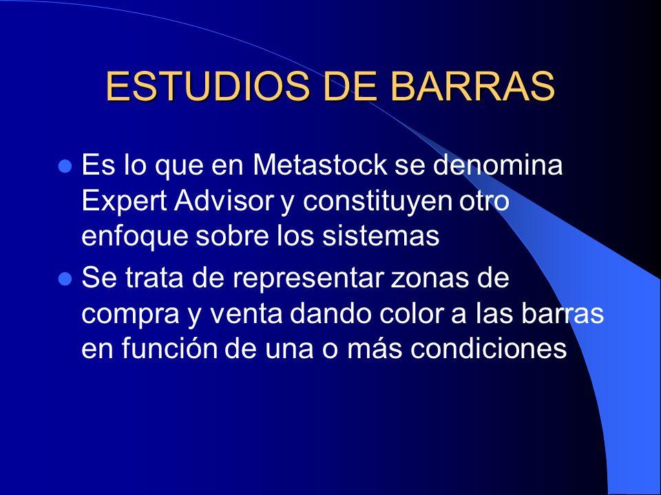 ESTUDIOS DE BARRAS Es lo que en Metastock se denomina Expert Advisor y constituyen otro enfoque sobre los sistemas.