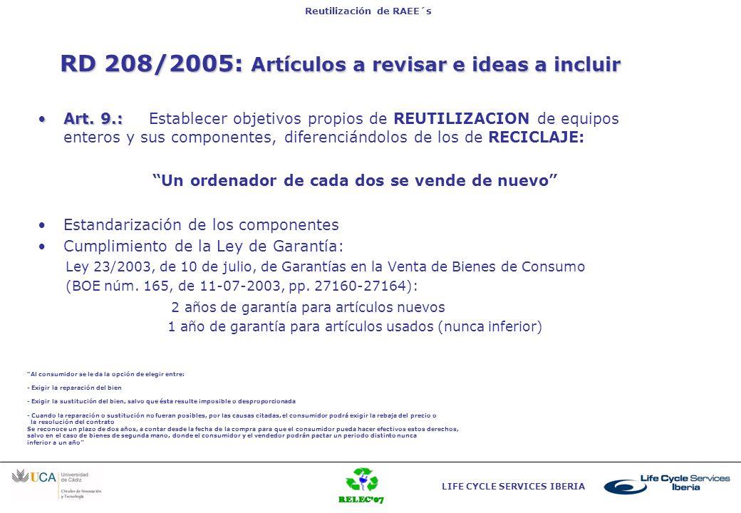 RD 208/2005: Artículos a revisar e ideas a incluir