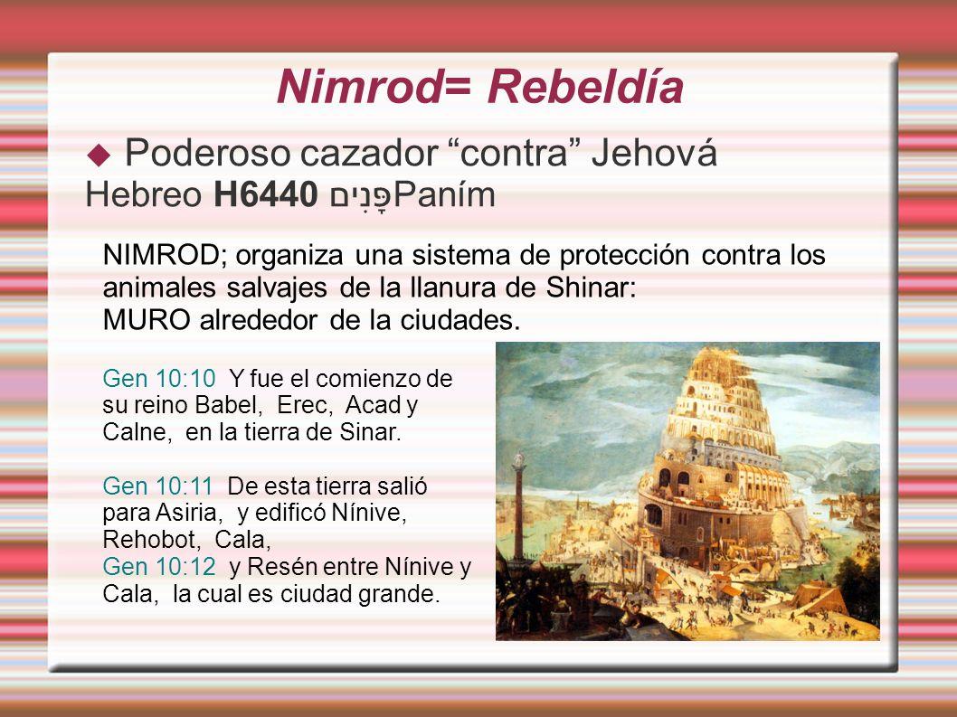 Nimrod= Rebeldía Poderoso cazador contra Jehová