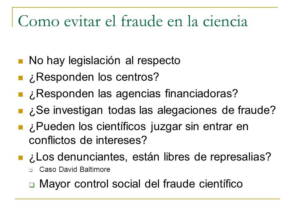 Como evitar el fraude en la ciencia
