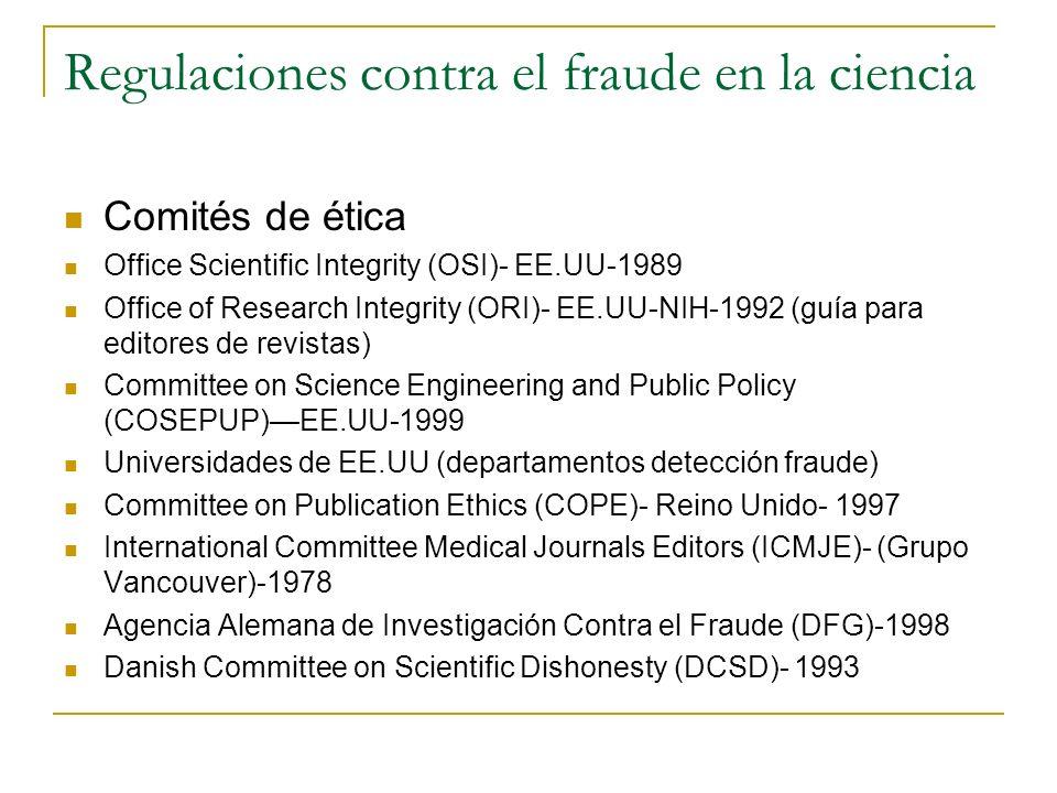 Regulaciones contra el fraude en la ciencia