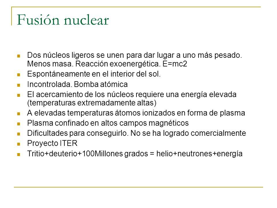 Fusión nuclear Dos núcleos ligeros se unen para dar lugar a uno más pesado. Menos masa. Reacción exoenergética. E=mc2.