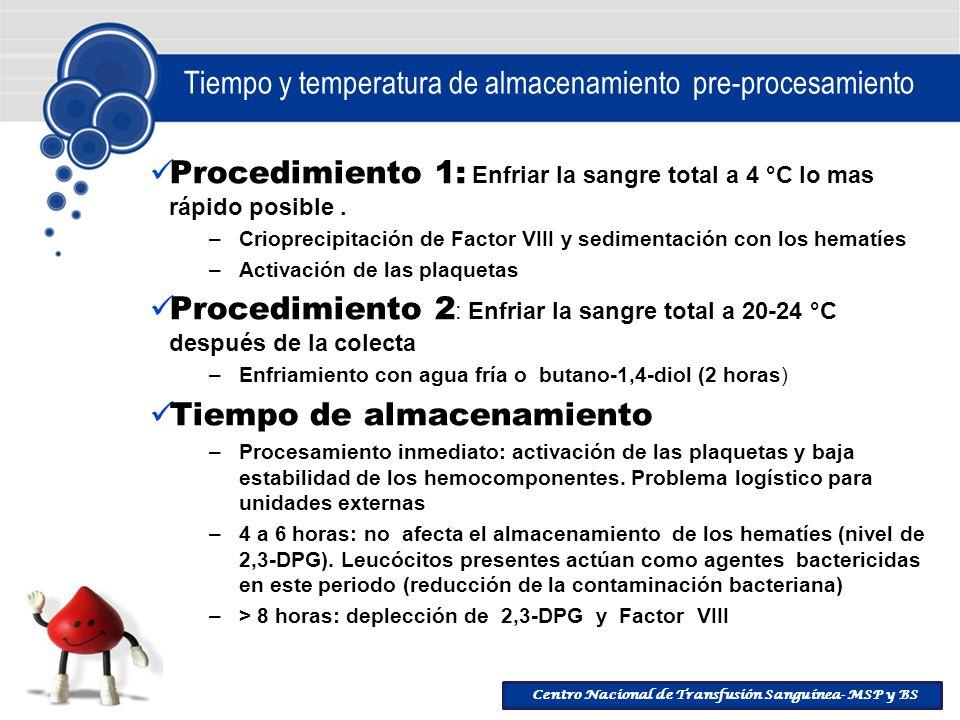 Tiempo y temperatura de almacenamiento pre-procesamiento