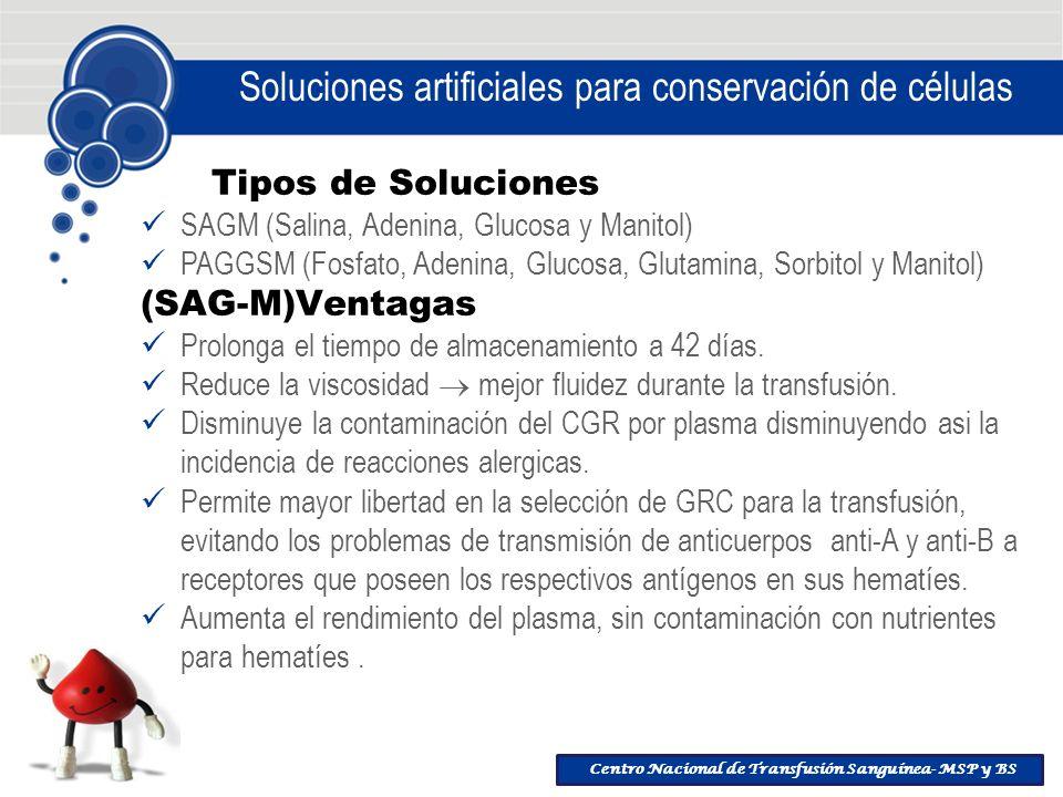 Soluciones artificiales para conservación de células