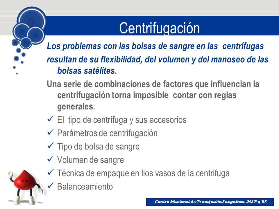 Centrifugación Los problemas con las bolsas de sangre en las centrífugas.
