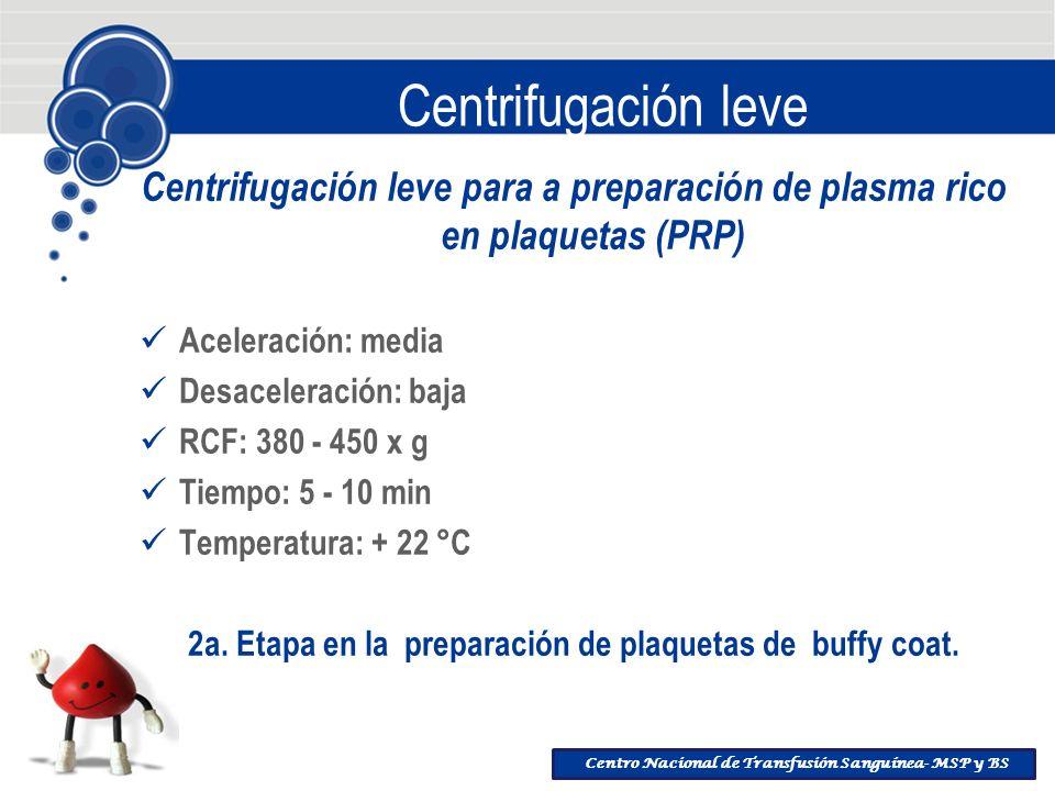 2a. Etapa en la preparación de plaquetas de buffy coat.
