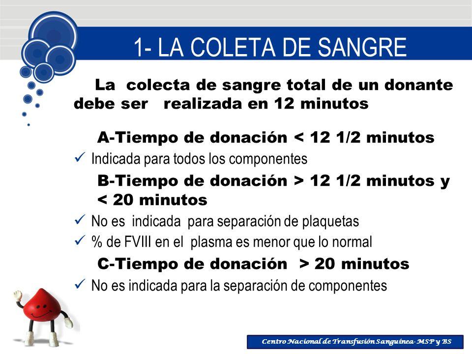 1- LA COLETA DE SANGRE La colecta de sangre total de un donante debe ser realizada en 12 minutos.