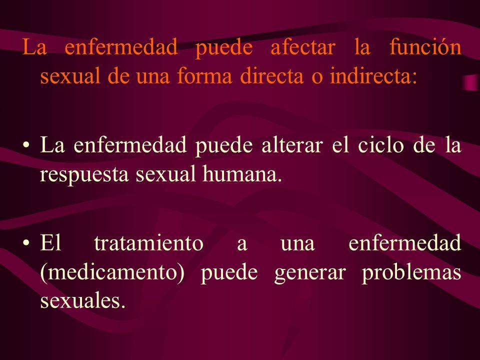 La enfermedad puede afectar la función sexual de una forma directa o indirecta: