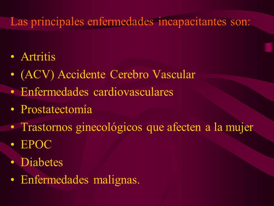 Las principales enfermedades incapacitantes son: