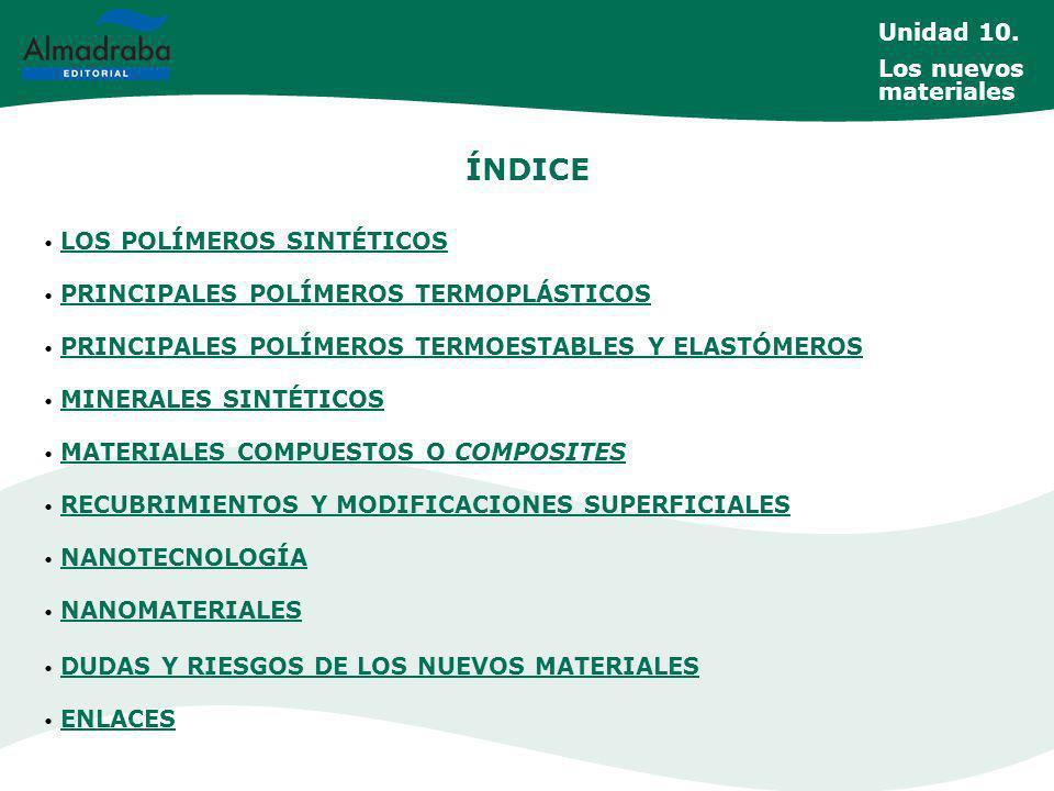 ÍNDICE Unidad 10. Los nuevos materiales LOS POLÍMEROS SINTÉTICOS