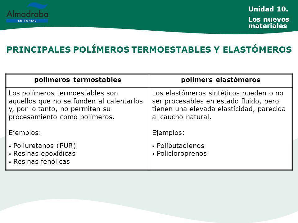 PRINCIPALES POLÍMEROS TERMOESTABLES Y ELASTÓMEROS