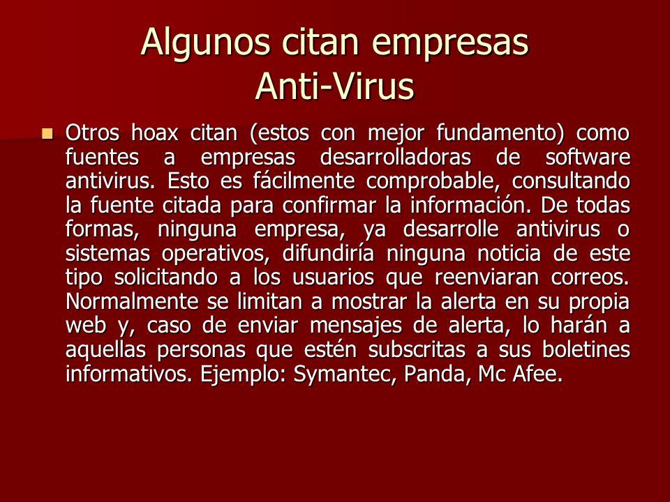 Algunos citan empresas Anti-Virus