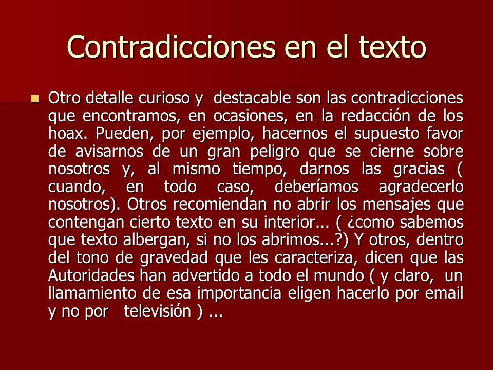 Contradicciones en el texto