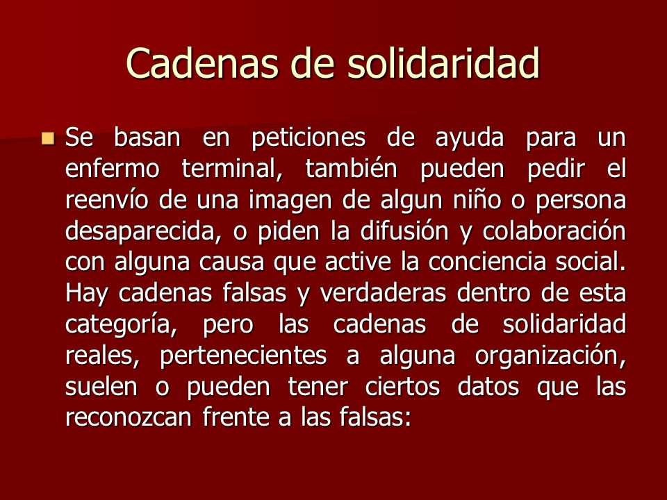 Cadenas de solidaridad