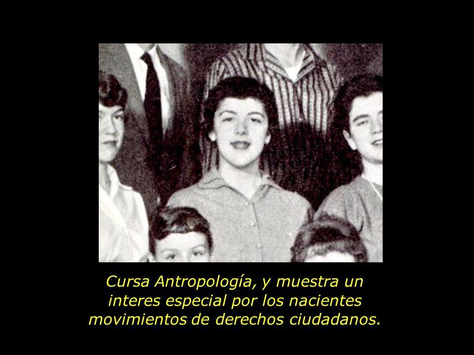 Cursa Antropología, y muestra un interes especial por los nacientes movimientos de derechos ciudadanos.