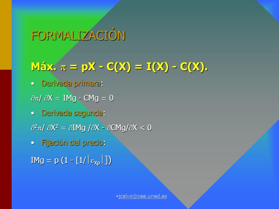 FORMALIZACIÓN Máx.  = pX - C(X) = I(X) - C(X). Derivada primera: