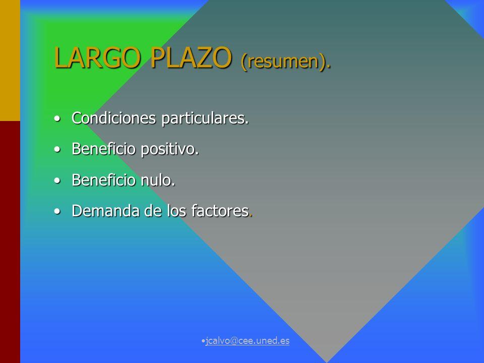 LARGO PLAZO (resumen). Condiciones particulares. Beneficio positivo.