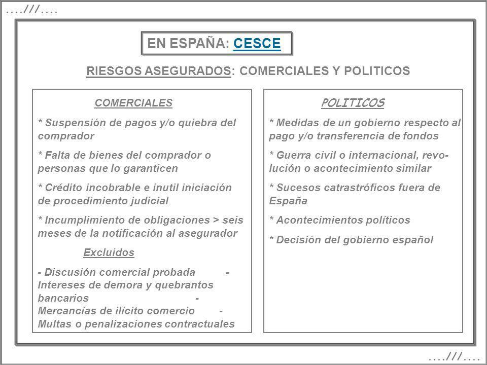 EN ESPAÑA: CESCE RIESGOS ASEGURADOS: COMERCIALES Y POLITICOS