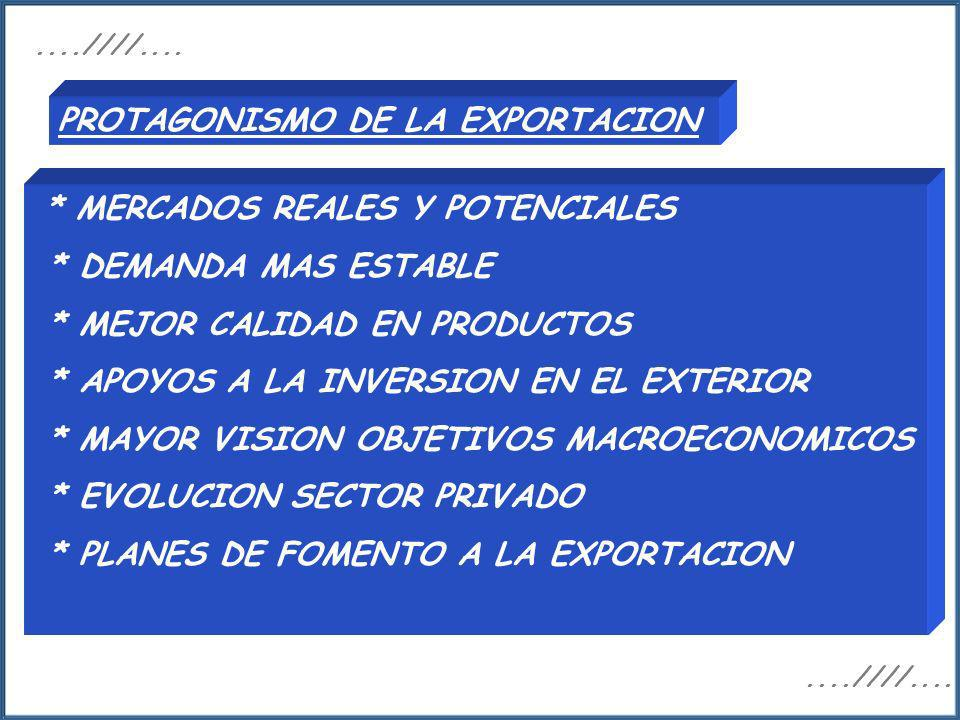 PROTAGONISMO DE LA EXPORTACION
