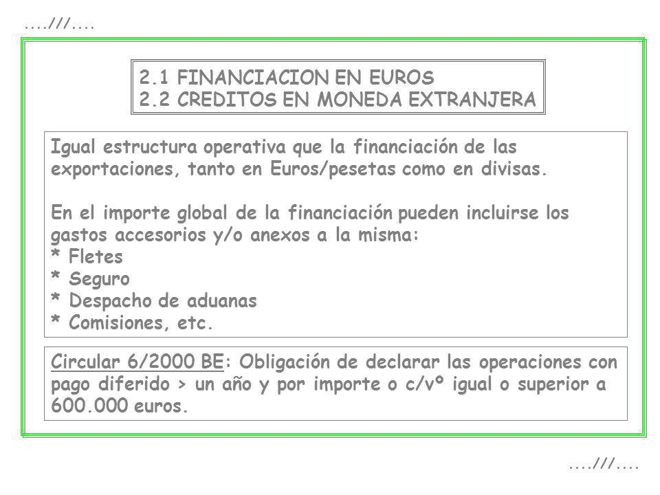2.1 FINANCIACION EN EUROS 2.2 CREDITOS EN MONEDA EXTRANJERA