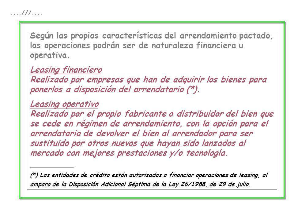 ....///.... Según las propias características del arrendamiento pactado, las operaciones podrán ser de naturaleza financiera u operativa.