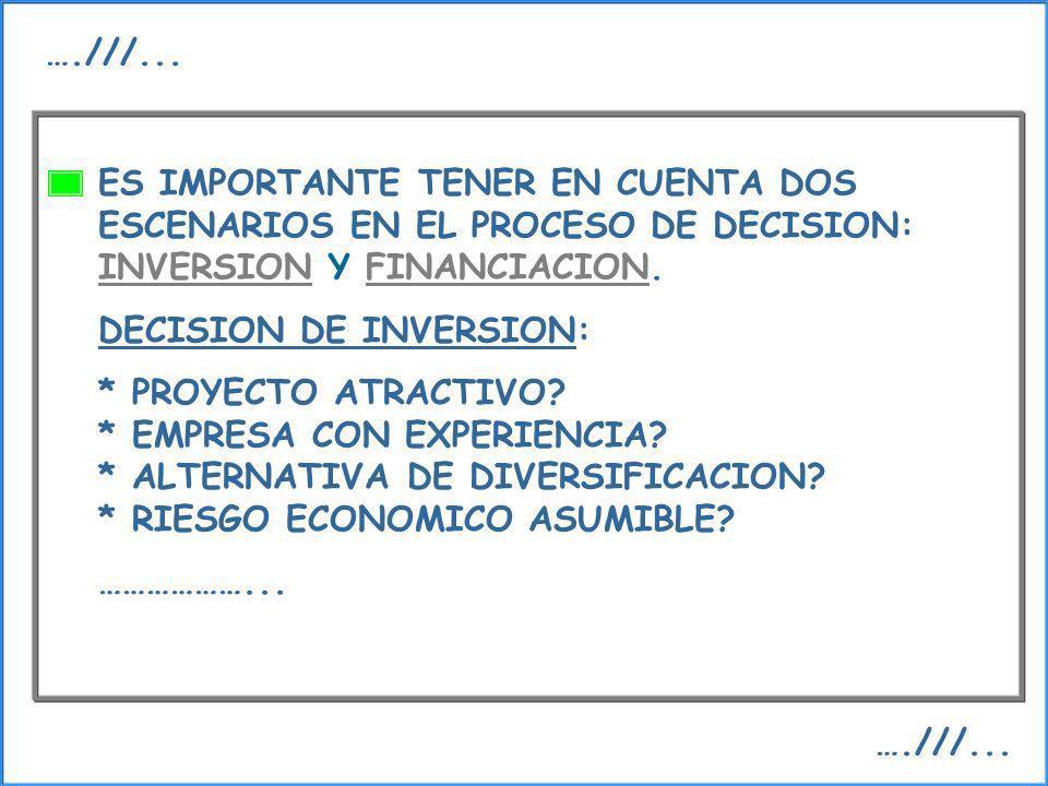 ….///...ES IMPORTANTE TENER EN CUENTA DOS ESCENARIOS EN EL PROCESO DE DECISION: INVERSION Y FINANCIACION.