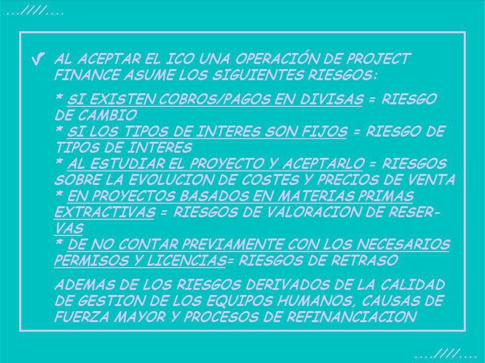 ...////....AL ACEPTAR EL ICO UNA OPERACIÓN DE PROJECT FINANCE ASUME LOS SIGUIENTES RIESGOS: