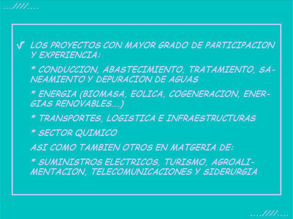 LOS PROYECTOS CON MAYOR GRADO DE PARTICIPACION Y EXPERIENCIA: