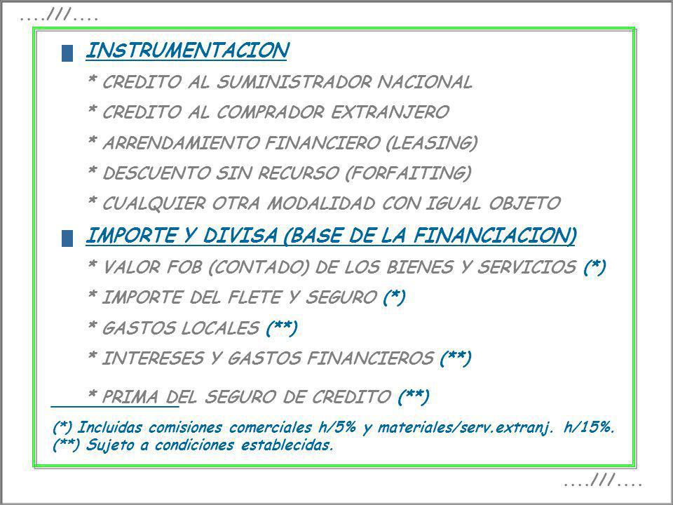 IMPORTE Y DIVISA (BASE DE LA FINANCIACION)