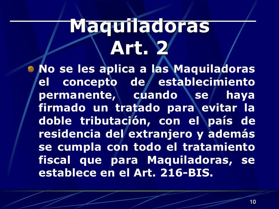 Maquiladoras Art. 2