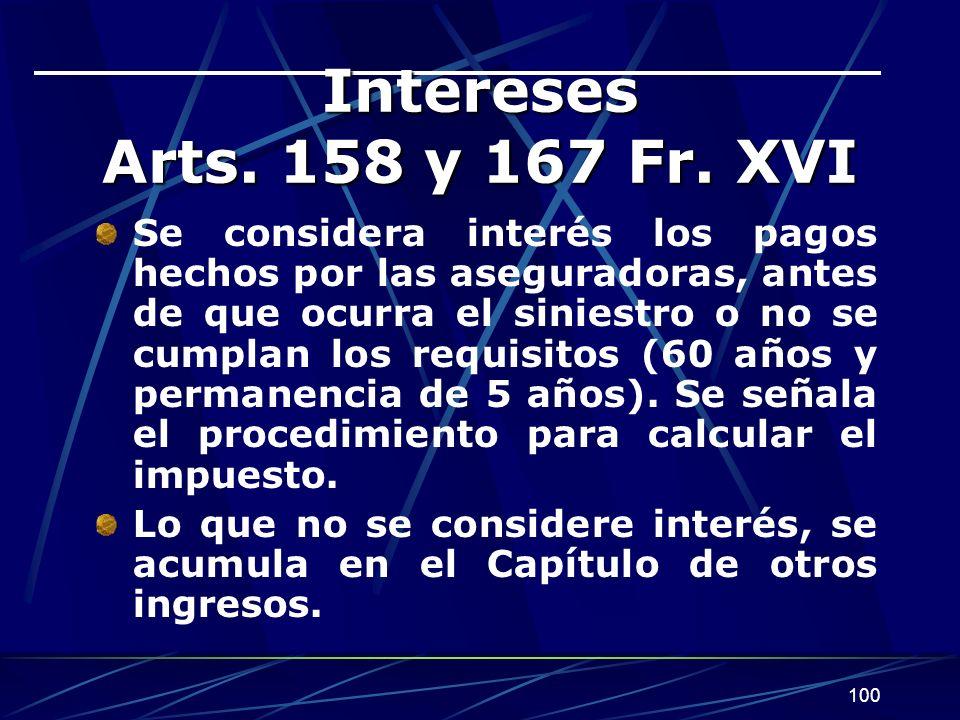 Intereses Arts. 158 y 167 Fr. XVI