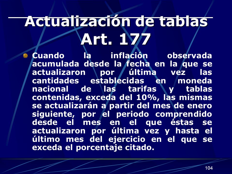 Actualización de tablas Art. 177