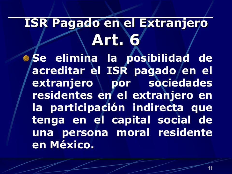 ISR Pagado en el Extranjero Art. 6