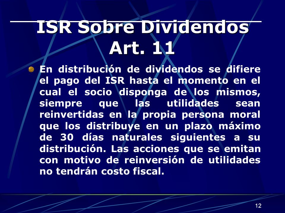 ISR Sobre Dividendos Art. 11