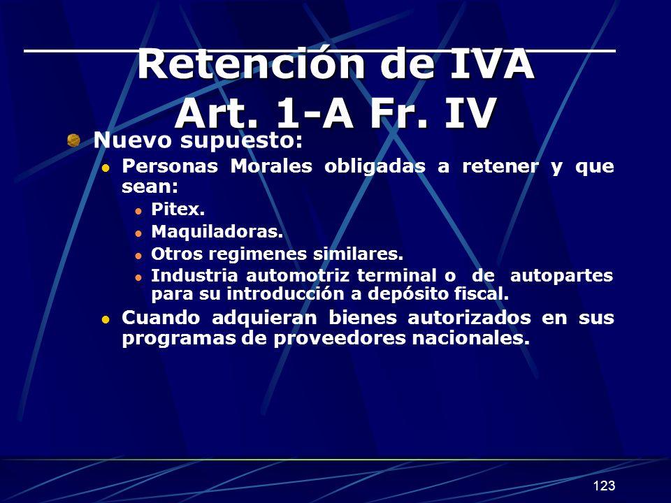 Retención de IVA Art. 1-A Fr. IV