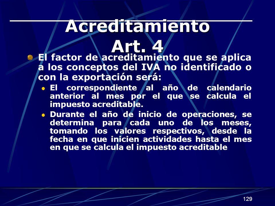 Acreditamiento Art. 4 El factor de acreditamiento que se aplica a los conceptos del IVA no identificado o con la exportación será: