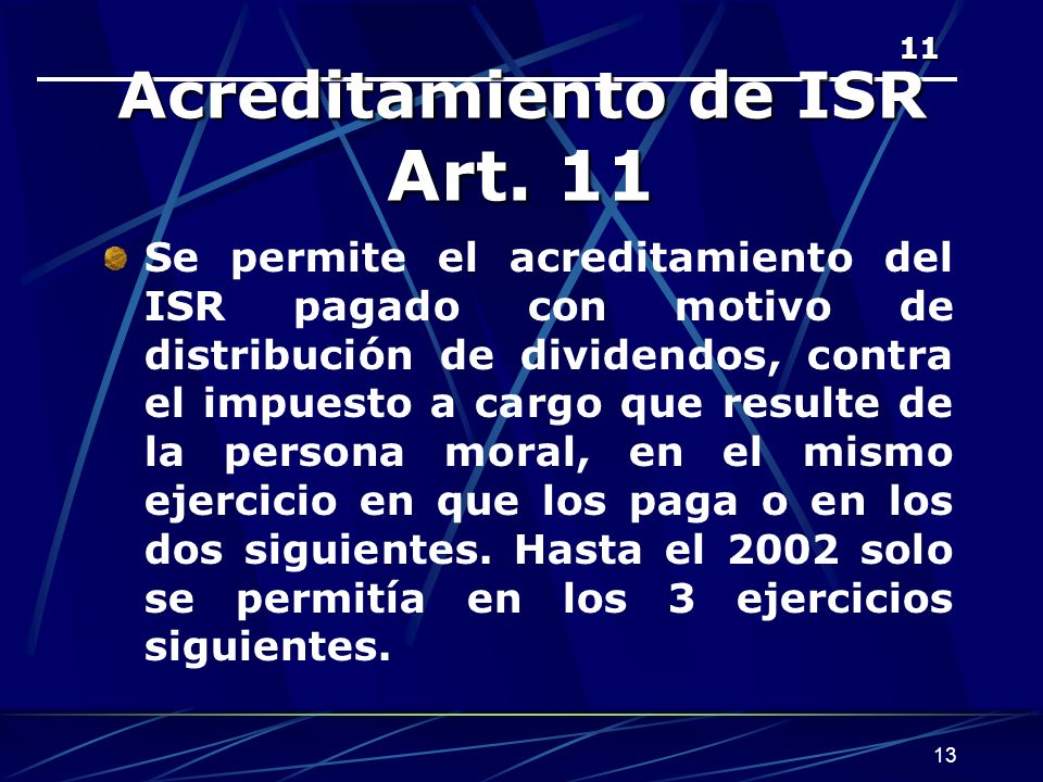 Acreditamiento de ISR Art. 11