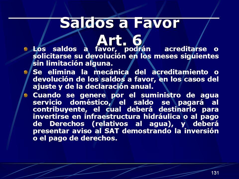 Saldos a Favor Art. 6 Los saldos a favor, podrán acreditarse o solicitarse su devolución en los meses siguientes sin limitación alguna.