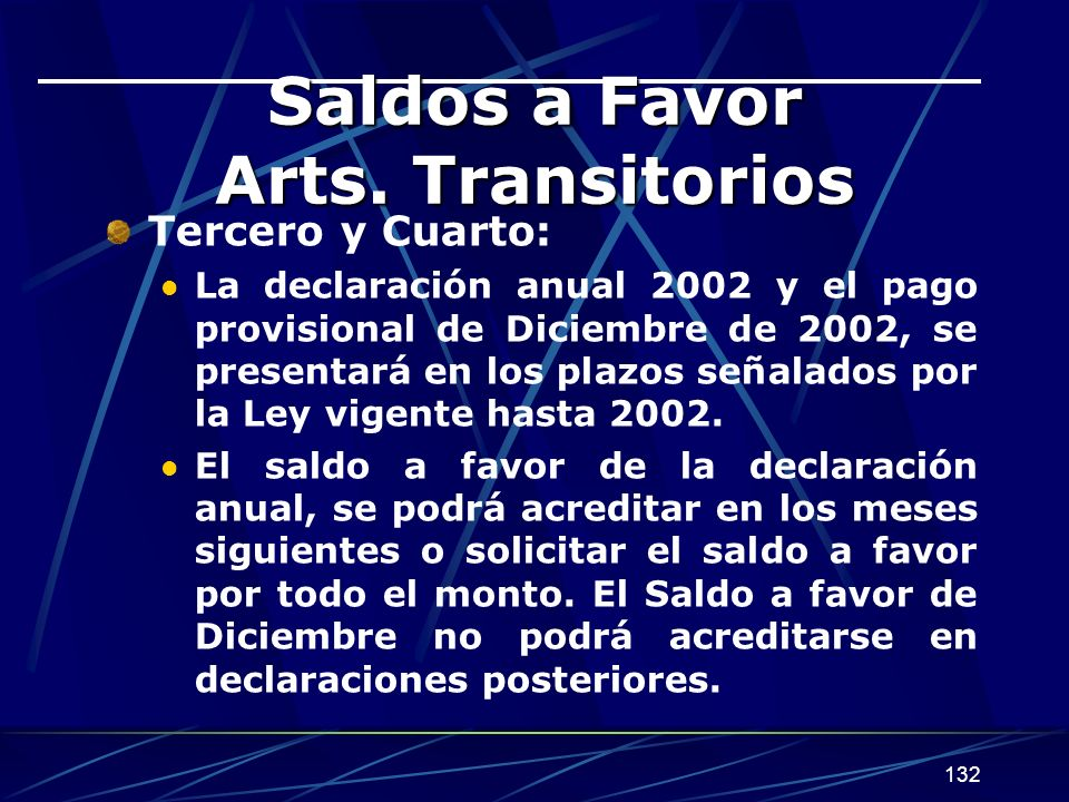 Saldos a Favor Arts. Transitorios