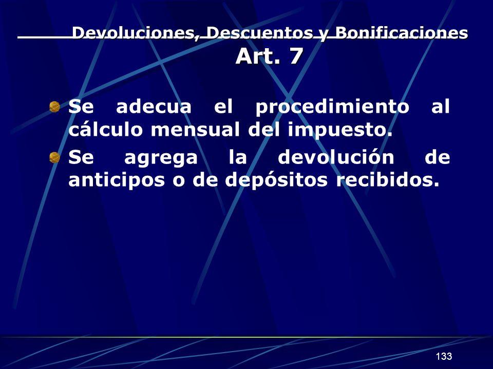 Devoluciones, Descuentos y Bonificaciones Art. 7