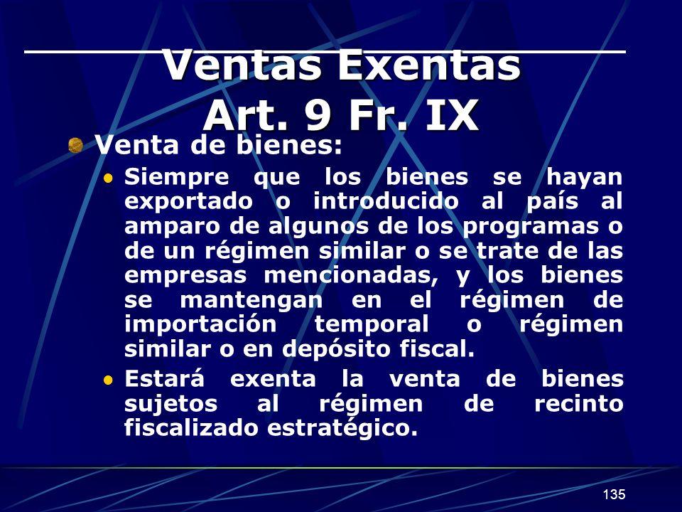 Ventas Exentas Art. 9 Fr. IX