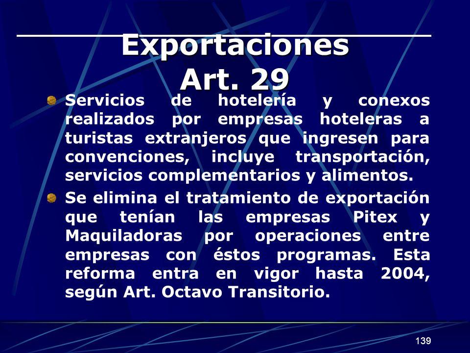Exportaciones Art. 29