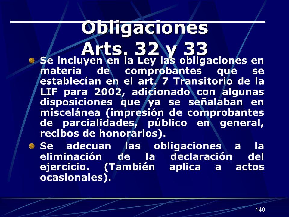 Obligaciones Arts. 32 y 33