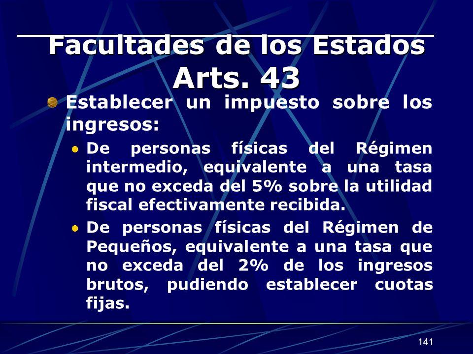 Facultades de los Estados Arts. 43