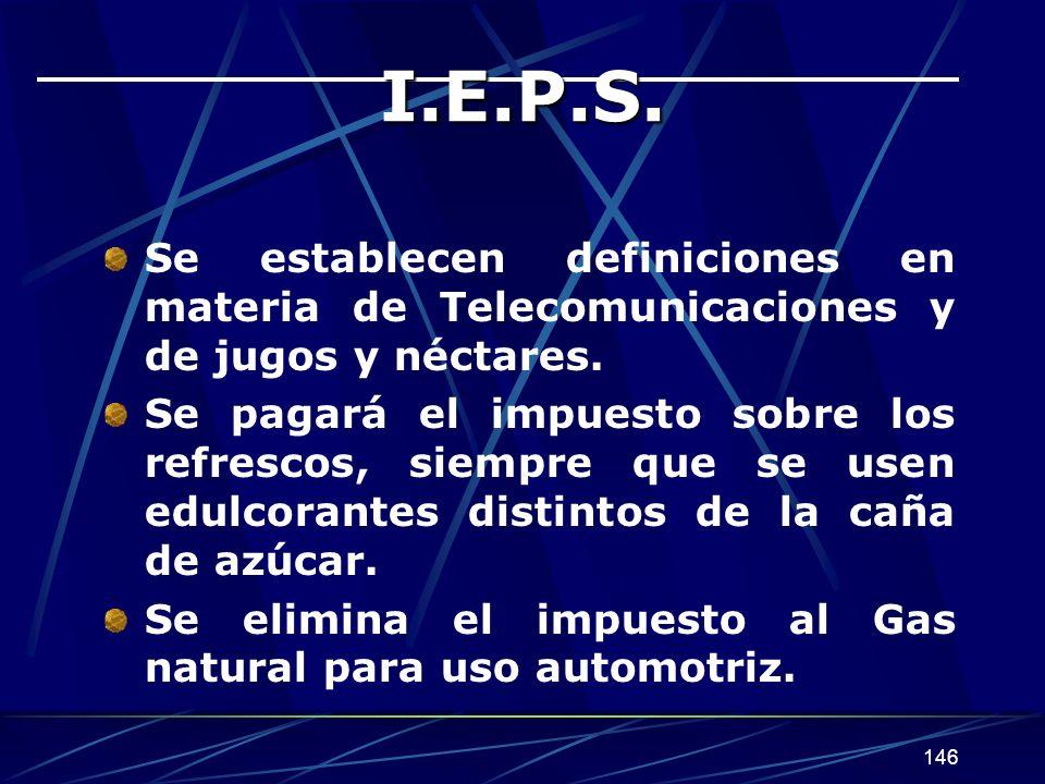 I.E.P.S. Se establecen definiciones en materia de Telecomunicaciones y de jugos y néctares.