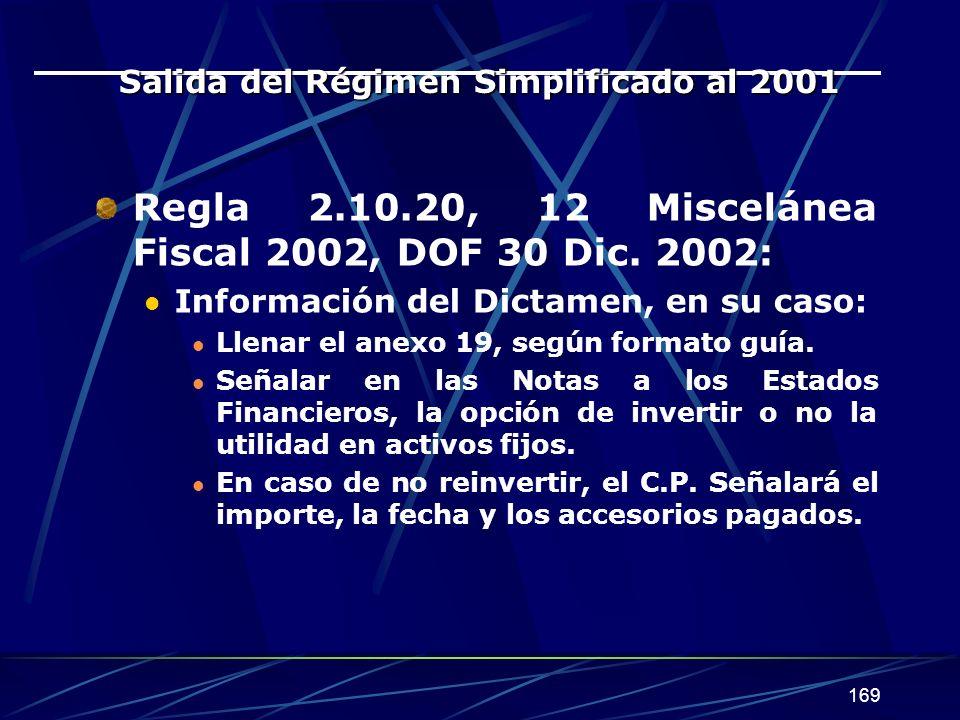 Salida del Régimen Simplificado al 2001